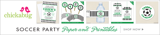 Soccer theme party paper goods and printables from Chickabug - www.chickabug.com