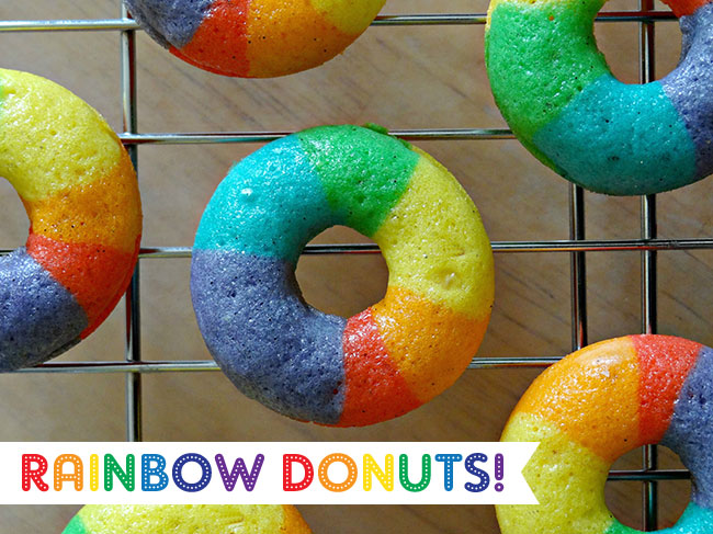 Mini rainbow donuts!