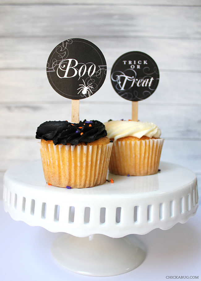 Free printable Halloween cupcake toppers from Chickabug