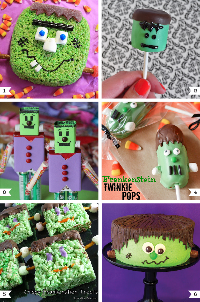 Frankenstein themed desserts for Halloween #halloween #partyfood #recipes