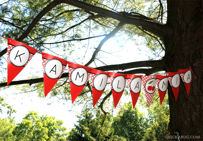 Cherry theme party - cute printable banner