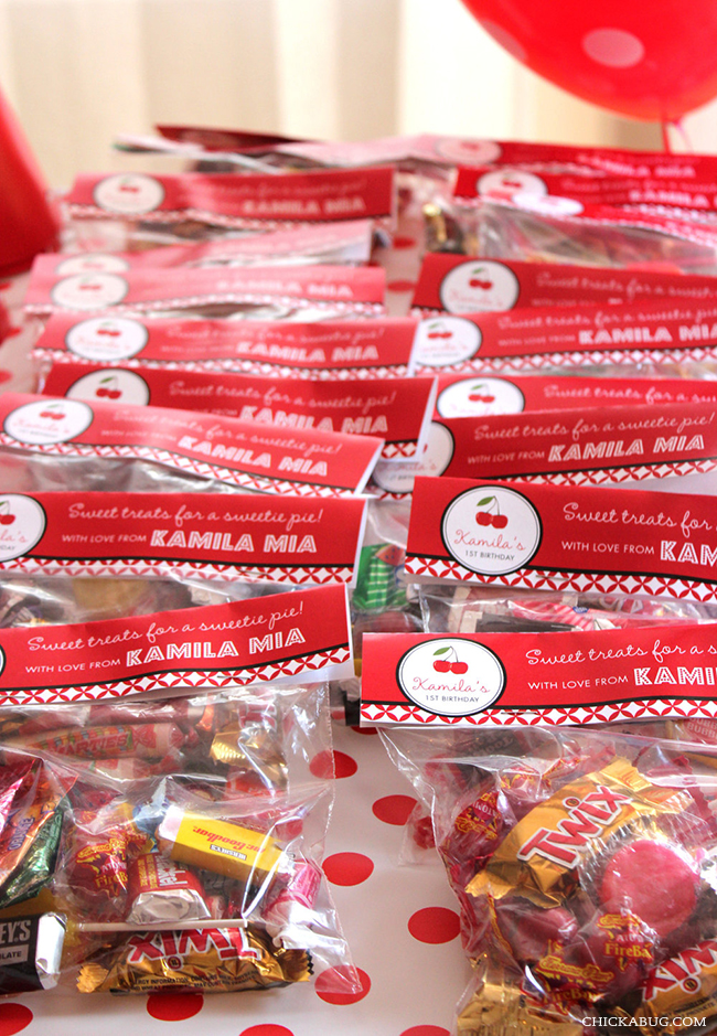 Cherry theme party favors