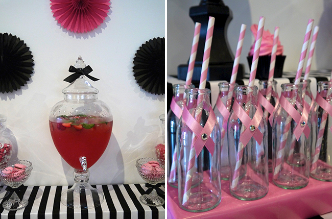 Pink ribbon party table for breast cancer awareness