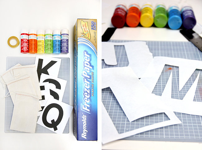DIY rainbow monogram favor bags