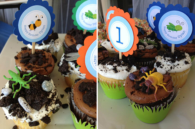 Insect theme birthday party - cupcakes with printable toppers from Chickabug