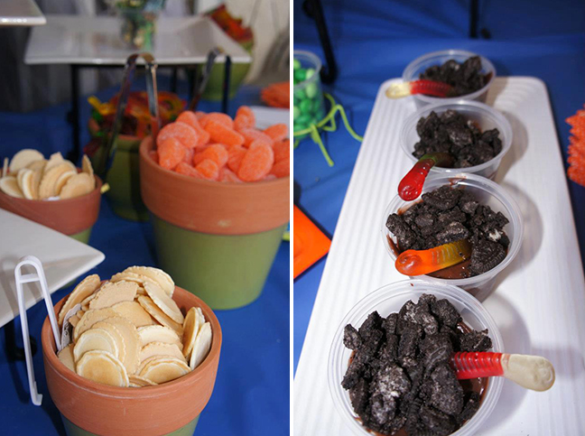 "Insect themed party food - ""dirt in a cup"""