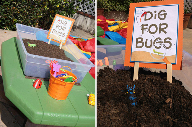 "Insect themed party game - ""dig for bugs"""