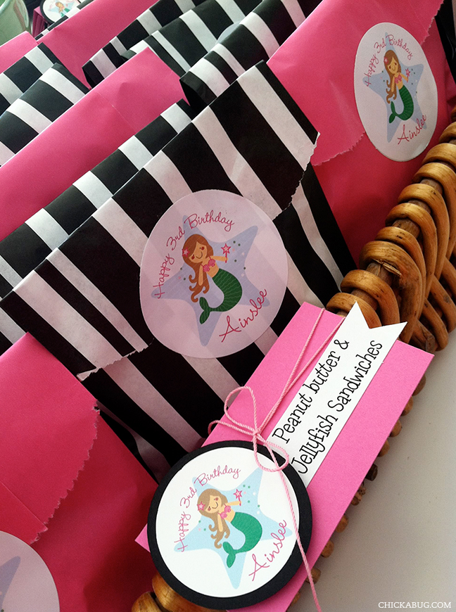 Mermaid theme birthday party food - stickers from Chickabug