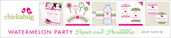 Chickabug watermelon theme party paper goods & printables