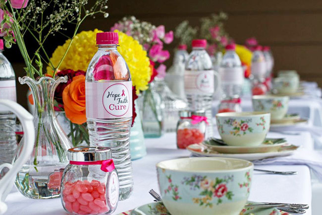 Pink ribbon breakfast with Chickabug water bottle labels