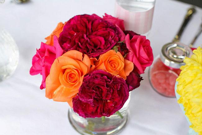 Pink ribbon breakfast flower centerpiece