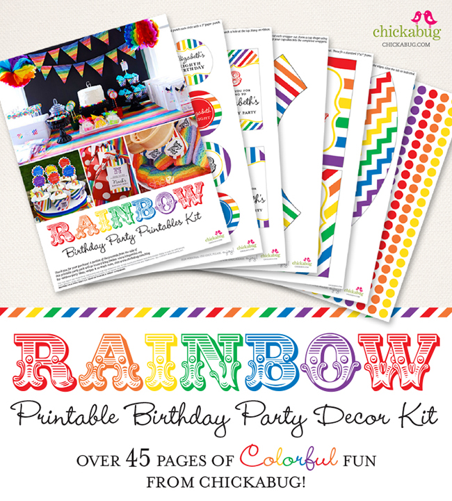 Rainbow birthday party printables kit from Chickabug - over 45 pages of colorful fun!