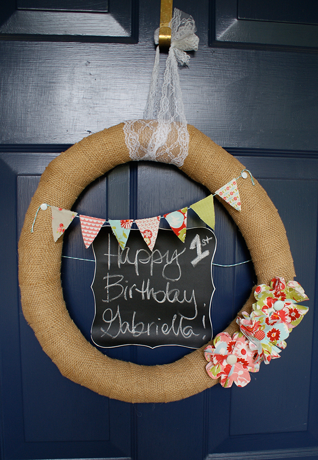 Shabby chic birthday party door wreath