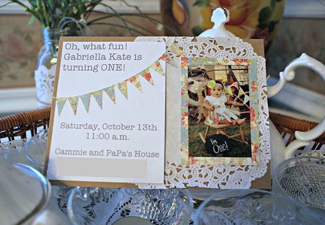 Shabby chic homemade birthday party invitation