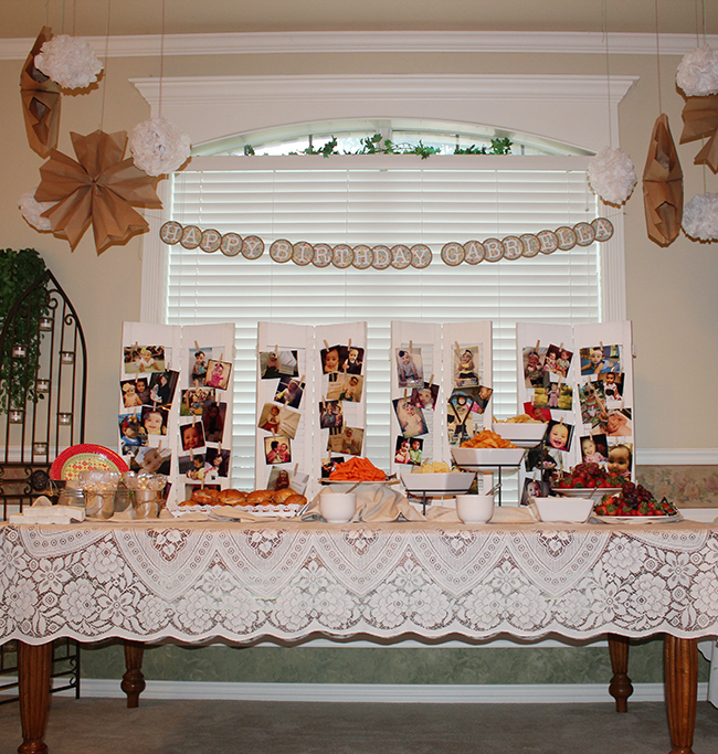 Shabby chic themed birthday picture display