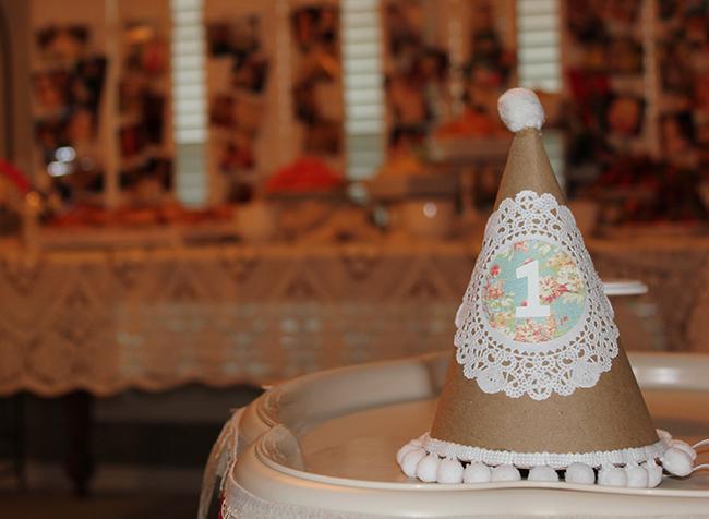 DIY shabby chic birthday party hat