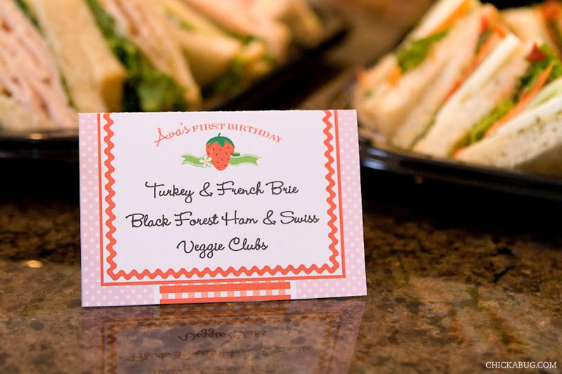 Strawberry theme birthday - printable buffet cards from Chickabug