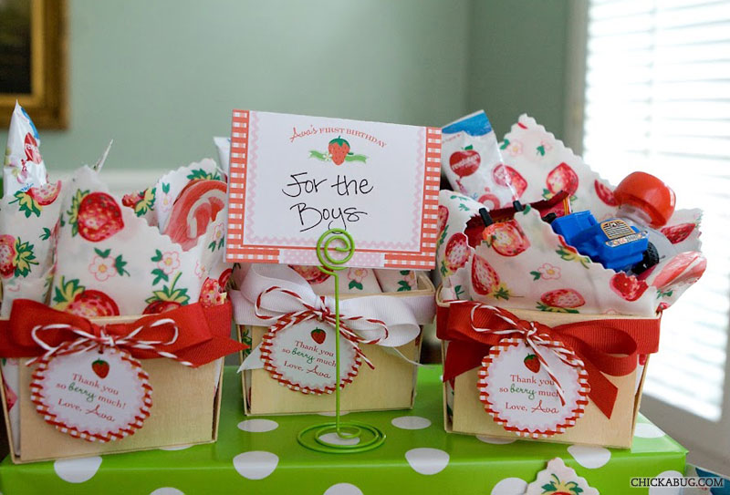 Strawberry theme birthday - party favor baskets for boys
