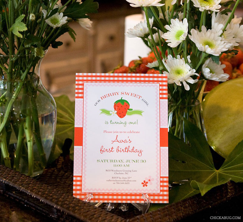 Strawberry theme birthday invitation from Chickabug