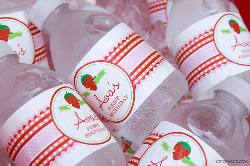 Strawberry theme birthday - water labels from Chickabug