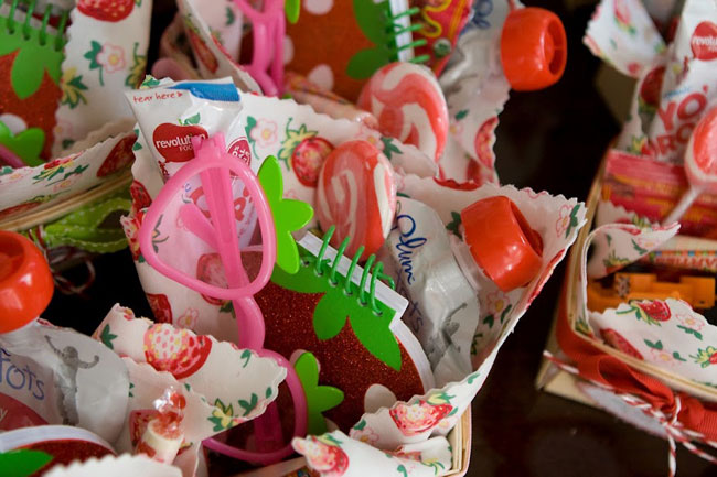 Strawberry birthday party favors