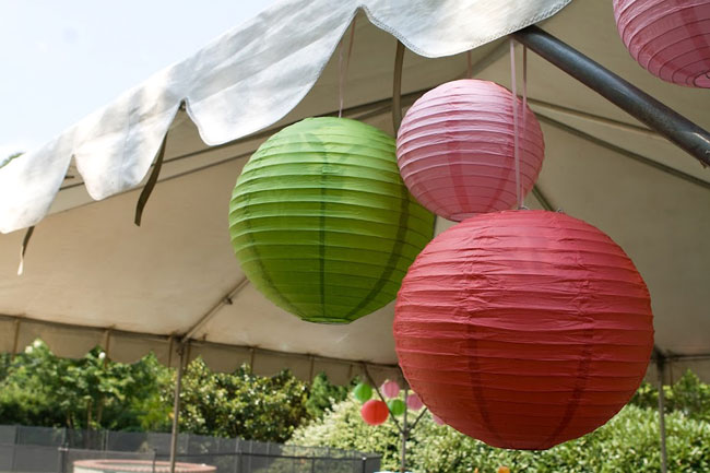 Strawberry theme birthday party - lanterns