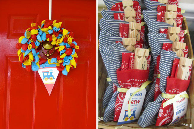 Train party favors and wreath made using Chickabug printables