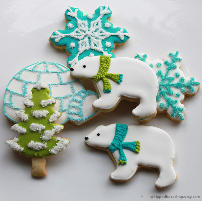 Polar Bear Christmas Cookies by WhippedBakeshop.etsy.com