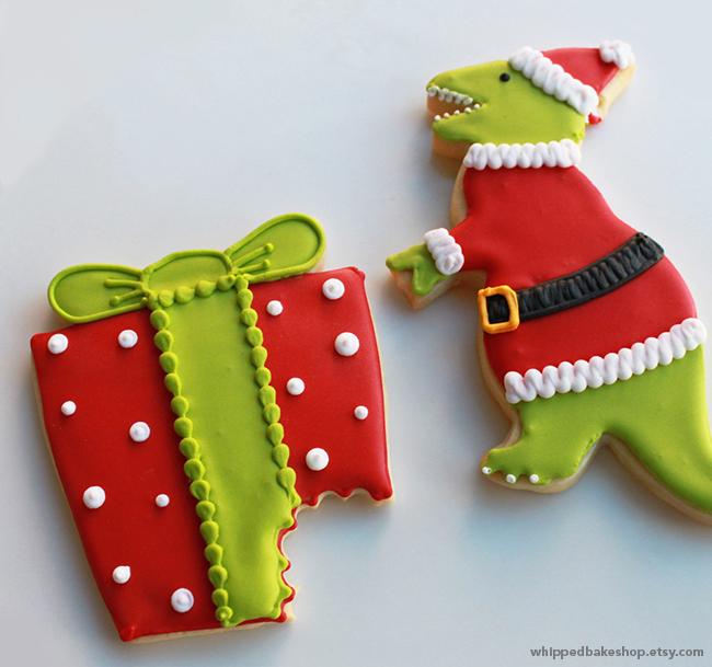 Santa-saurus Rex Christmas Cookies by WhippedBakeshop.etsy.com