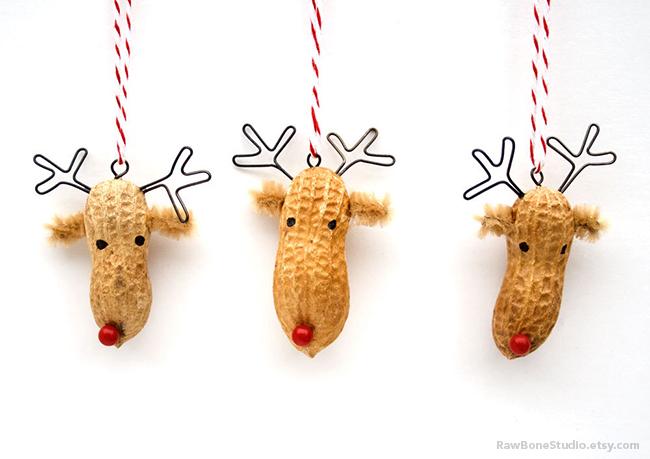 Christmas peanut ornaments by Raw Bone Studio - rawbonestudio.etsy.com