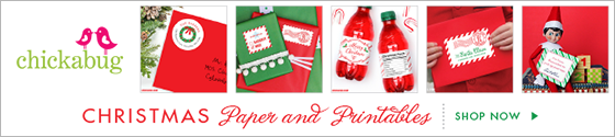 Chickabug Christmas party theme paper goods & printables