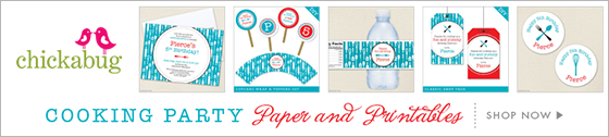 Cooking theme paper goods and printables from Chickabug