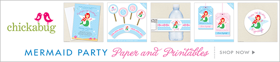 Mermaid theme party paper goods & printables from Chickabug