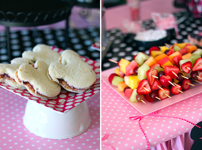 Minnie Mouse party food - Minnie PB&J's and fruit kebabs