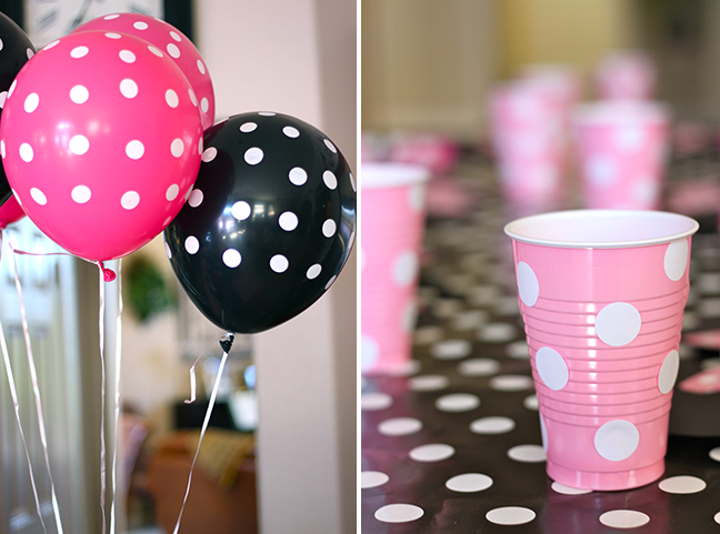 Minnie Mouse party decorations - pink and black polka dots!