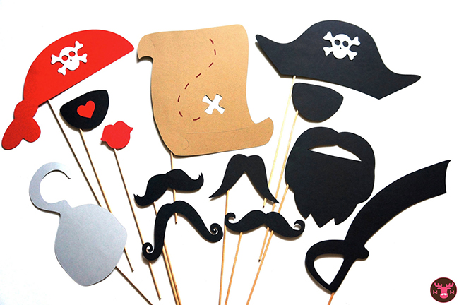 Pirate theme photo booth props by The Manic Moose