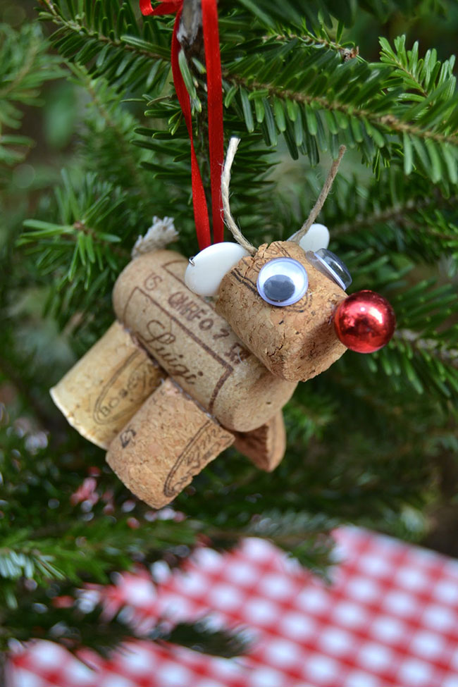 Rudolph the Red Nosed Reindeer cork ornament