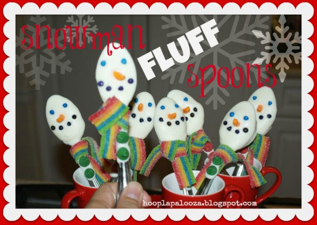 Snowman fluff spoons - so cute and fun for Christmas!
