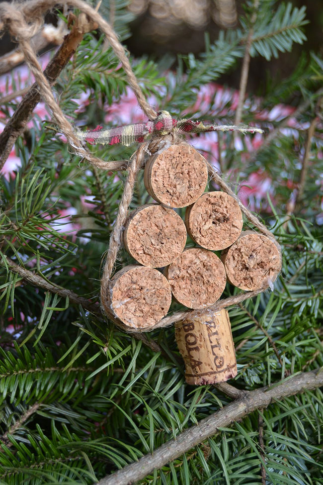 Christmas tree cork ornament
