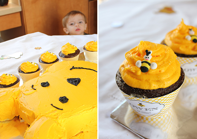 Winnie The Pooh Birthday Cake and Cupcakes - printable wrappers are from Chickabug