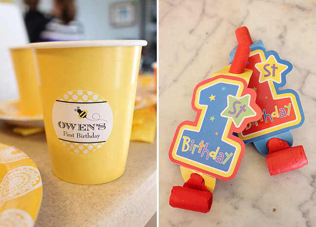 Winnie The Pooh First Birthday Party Decorations - stickers are from Chickabug