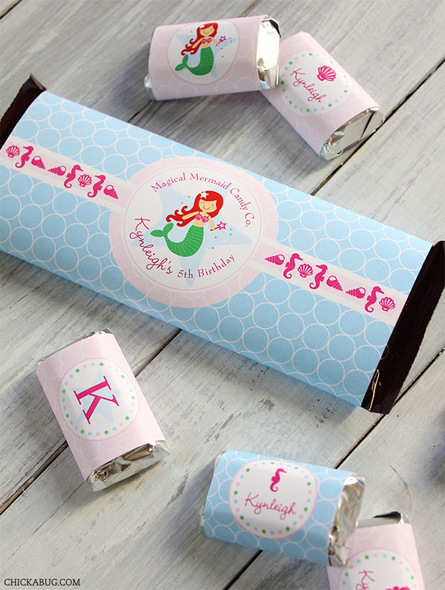 Mermaid theme - printable Hershey bar labels from Chickabug