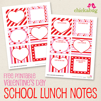 photo regarding Printable Love Note titled Free of charge printable Valentines Working day college or university lunch notes Chickabug