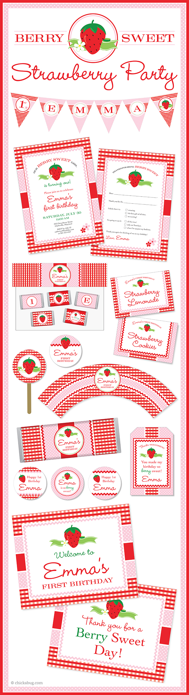 """A """"berry sweet"""" strawberry theme party! Paper goods and printables from Chickabug.com"""