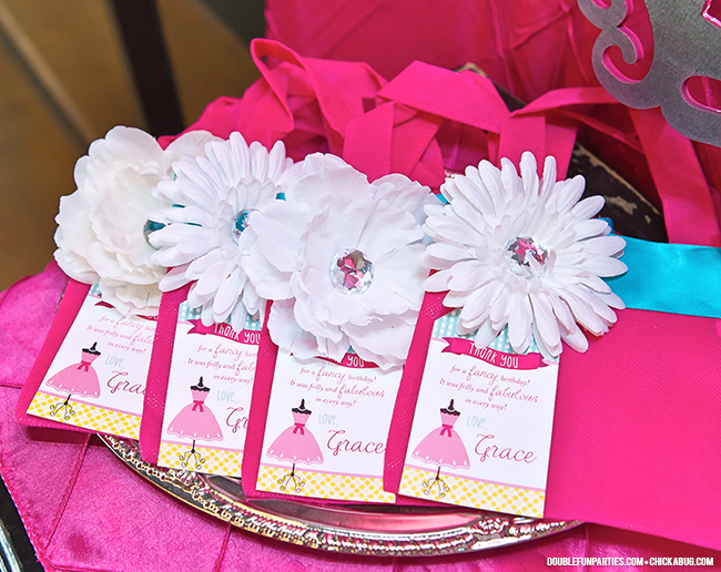 Dress-Up theme party by Double The Fun Parties - Pink purse party favors! - printables from Chickabug