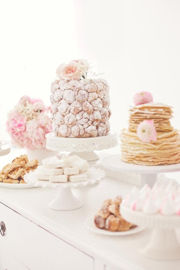 Pink and white dessert buffet