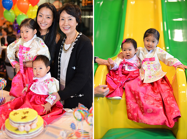 Rainbow theme first birthday party (Korean Dohl)