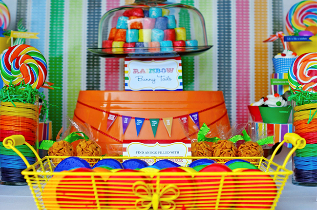 Rainbow Easter party! With printables from TomKat Studio and Chickabug