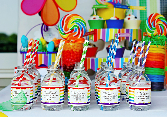 Rainbow party with water labels from Chickabug