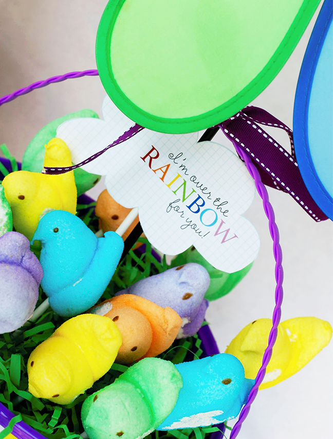 Rainbow marshmallow Peeps basket with a free printable from Simple as That